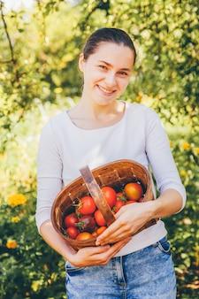 Concepto de jardinería y agricultura. trabajador de granja de la mujer joven que sostiene la cesta que escoge los tomates orgánicos maduros frescos en jardín. productos de invernadero.