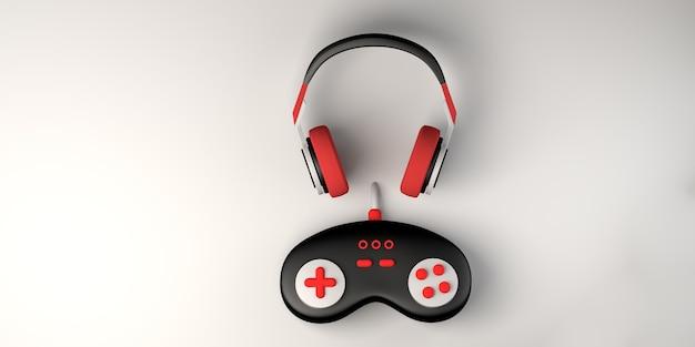 Concepto de juego auriculares con controlador de consola de juegos gamepad espacio de copia
