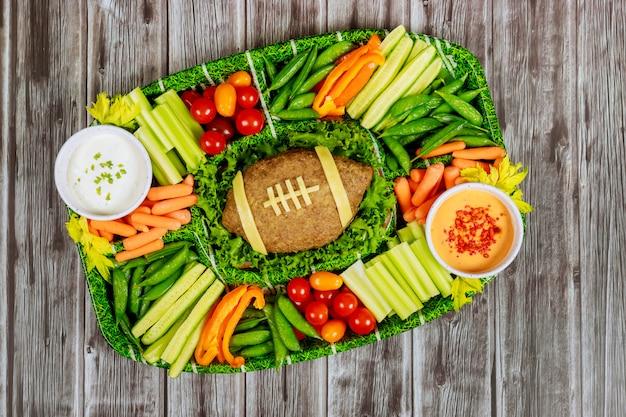 Concepto de juego de fútbol americano comida de catering para fanático del juego de fútbol.