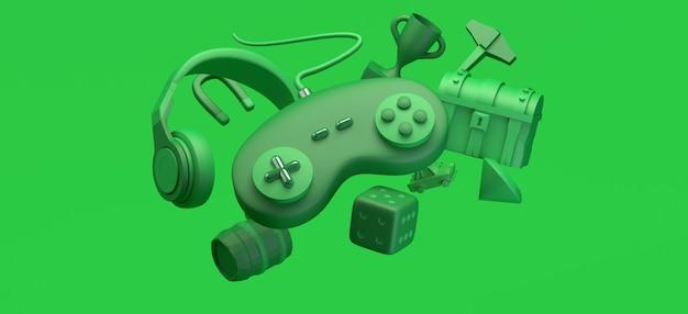 Concepto de juego gamepad flotante con cascos, cofre, premio, diamante, elementos del juego