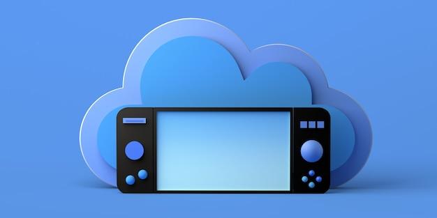 Concepto de juego online. gamepad con nube. jugador. copie el espacio. bandera. ilustración 3d.