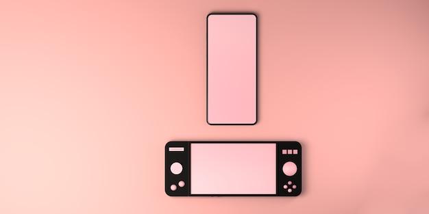 Concepto de juego smartphone con controlador de consola de juegos gamepad espacio de copia gamer ilustración 3d