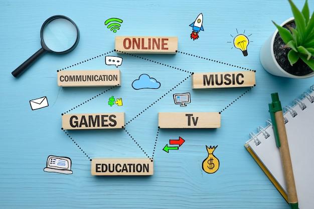 El concepto de juegos en línea, música de entretenimiento, comunicación.