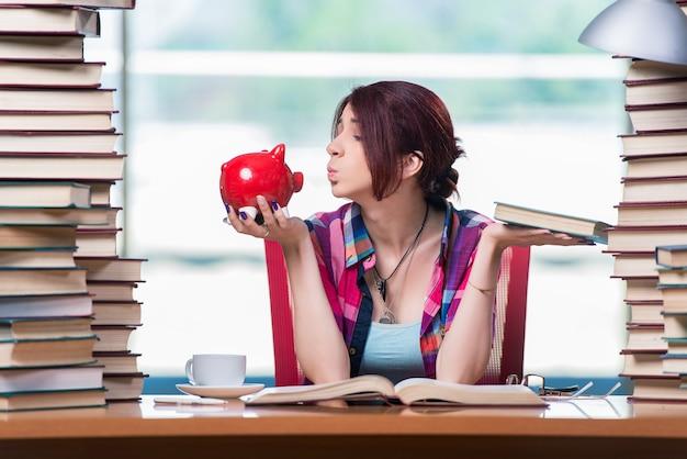 Concepto de libros de texto caros con estudiante