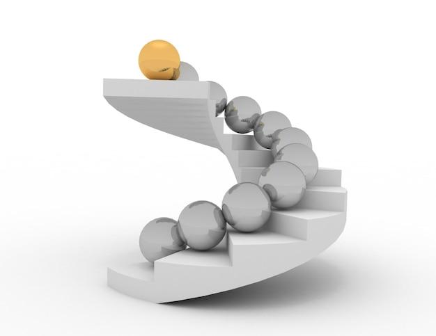 Concepto de líder 3d. bolas en las escaleras