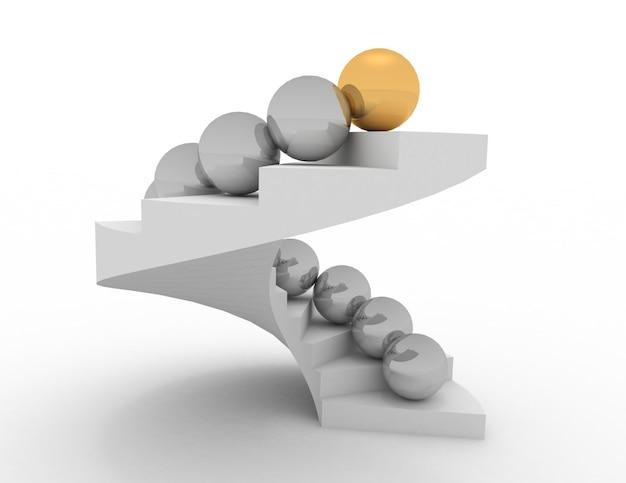 Concepto de líder 3d. bolas en las escaleras Foto Premium