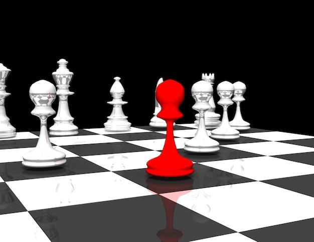 Concepto de líder de ajedrez 3d