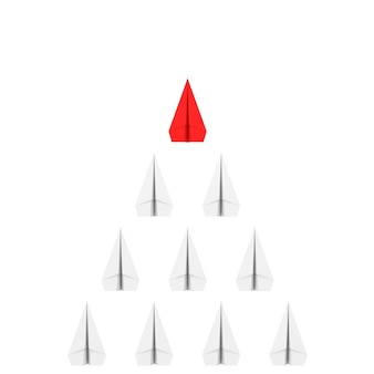 Concepto de líder. rof de aviones de papel de origami blanco con un rojo sobre un fondo blanco. representación 3d