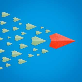 Concepto de liderazgo con avión de papel como líder