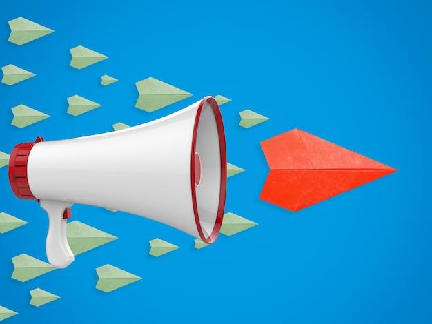 Concepto de liderazgo con avión de papel líder y megáfono.