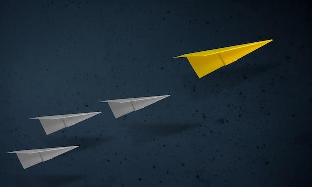 Concepto de liderazgo avión de papel único que lleva al otro. objetivos y éxito en los negocios