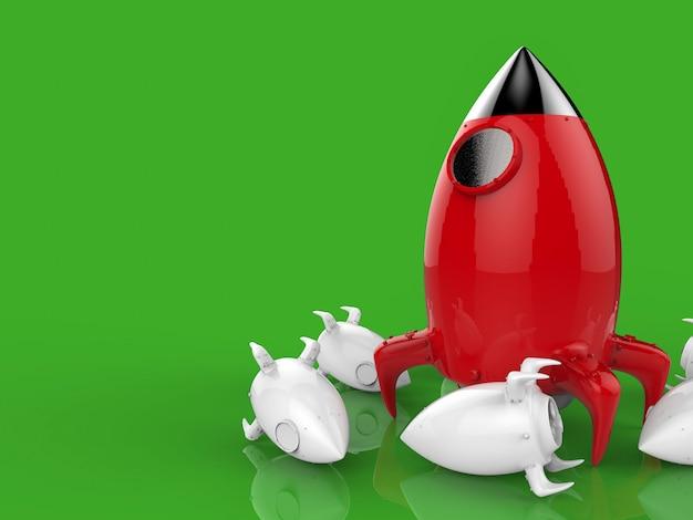 Concepto de liderazgo con lanzamiento de cohete de renderizado 3d
