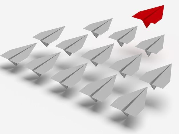 Concepto de liderazgo. un plano líder rojo lleva a otros planos grises hacia adelante