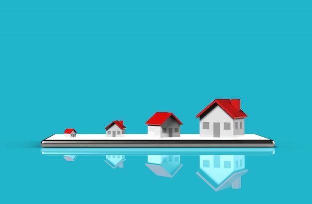 Concepto en línea de bienes raíces de crecimiento. grupo de la casa en el teléfono móvil. ilustración 3d