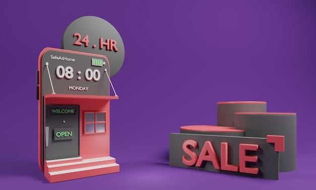Concepto en línea de compras en 3d con aplicación en línea de compras y podio