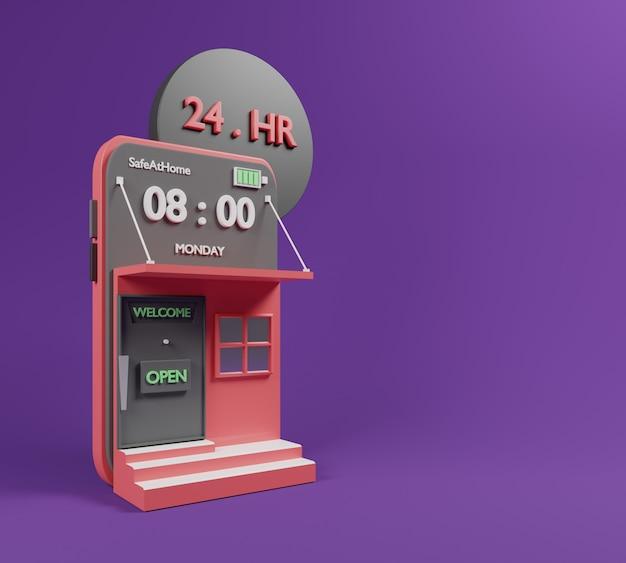 Concepto en línea de compras 3d con la aplicación en línea de compras.