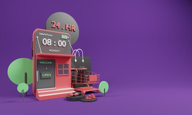 Concepto en línea de compras 3d con carrito y aplicación en línea de compras.