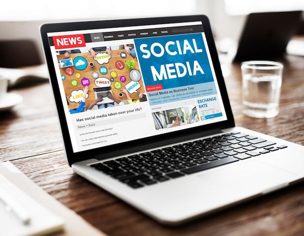 Concepto en línea de redes de comunicación de redes sociales