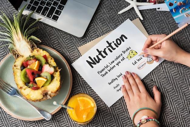 Concepto de lista de notas de dieta saludable para hacer