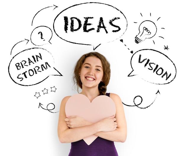Concepto de lluvia de ideas de ideas creativas de inspiración