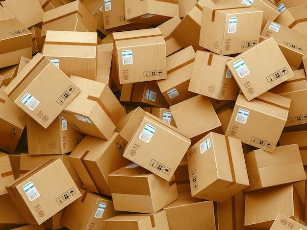 Concepto de logística empresarial. tecnología de conexión empresarial global. cajas de cartón. ilustración de renderizado 3d