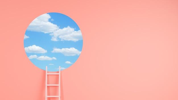 Concepto de logro de escalera representación 3d