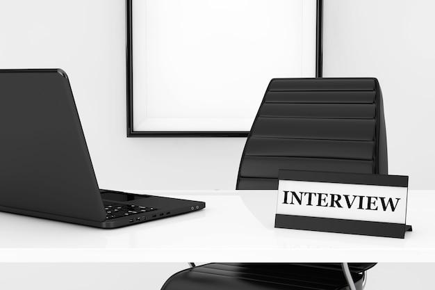 Concepto de lugar de trabajo de gerente de recursos humanos. placa de entrevista y portátil en la mesa frente a la silla de oficina de cuero negro extreme closeup. representación 3d