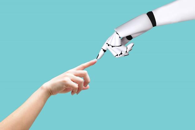 Concepto de mano humana y sistema robotizado. integración y coordinación de tecnología intelectual.