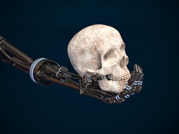 El concepto de las máquinas de levantamiento. mano del robot y el cráneo humano.