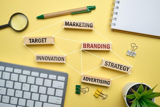 Concepto de marca: bloques de madera con inscripciones de marketing, estrategia, objetivo, publicidad.