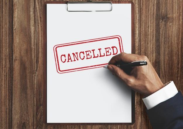 Concepto de marca de etiqueta de sello denegado cancelado prohibido retrasado