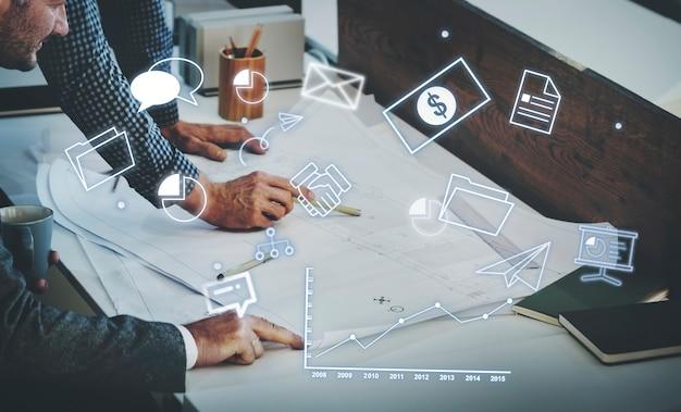 Concepto de marca de solución de estrategia de gestión corporativa