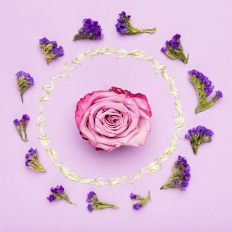Concepto de marco de flores coloridas con pétalos