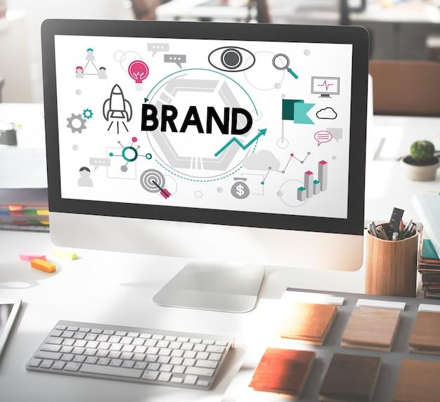 Concepto de marketing comercial de publicidad de marca de marca