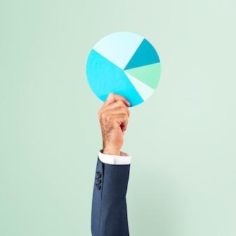 Concepto de marketing empresarial de gráfico circular de papel