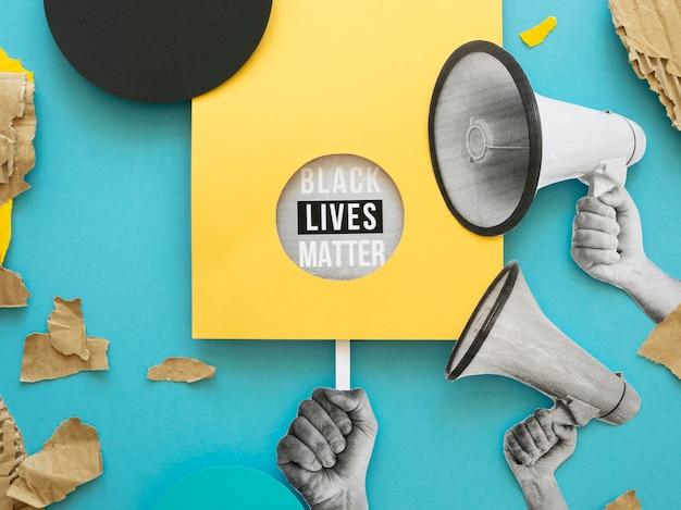 Concepto de materia de vidas negras con mensaje