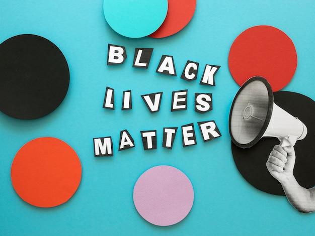 Concepto de materia de vidas negras con puntos