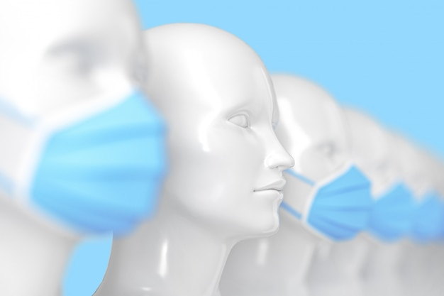 El concepto médico propaga la infección entre los jefes de maniquíes blancos y brillantes de pie sin máscara en una fila de otros jefes de pie con máscaras médicas azules brillantes. ilustración 3d
