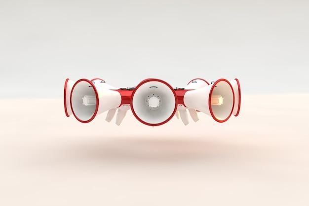 Concepto de megáfonos un estilo para aviso o anuncio, promoción de un producto, servicio o evento.