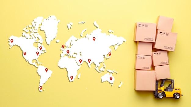 Concepto de mensajería para la entrega de mercancías y carga en todo el mundo.