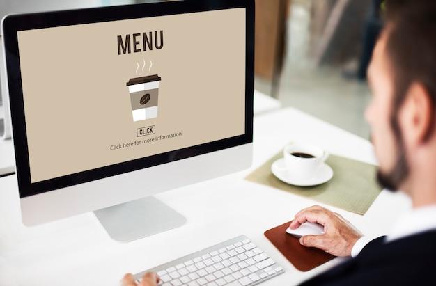Concepto de menú de entrega en línea de pedido de café para llevar