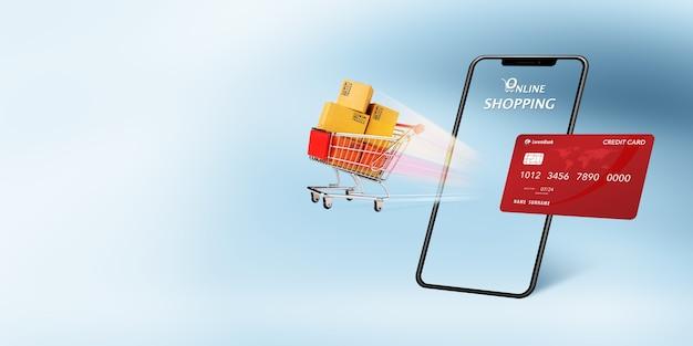 Concepto de mercado de comercio electrónico, tiendas web, compras en línea y envío con carrito de compras que se eleva fuera de la pantalla del teléfono y tarjeta de crédito sobre fondo azul claro con espacio de copia