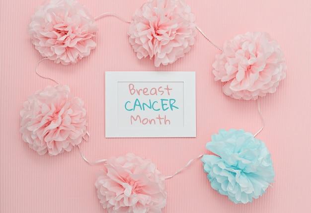 Concepto de mes de concientización sobre el cáncer de mama plano lay