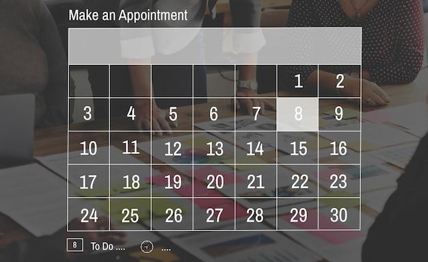 Concepto de mes de semana de fecha de negocio de cita de calendario