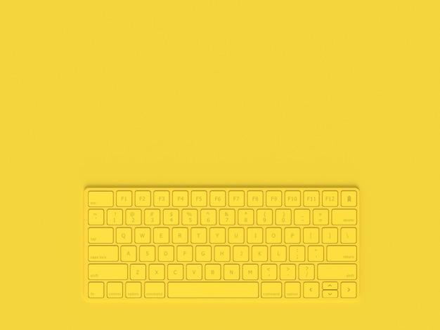 Concepto minimalista color amarillo del teclado y espacio de copia para su texto, render 3d.