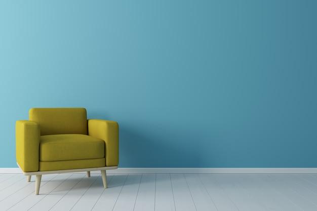 Concepto minimalista interior de sillón de tela amarillo vivo, sobre piso de madera y pared azul.