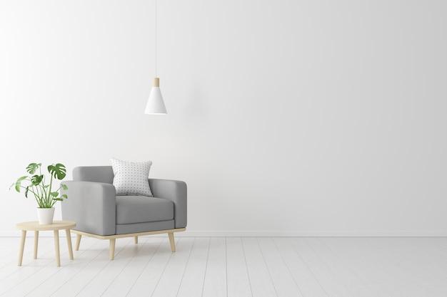 Concepto minimalista interior de sillón de tela gris vivo, mesa de madera sobre suelo de madera y pared blanca.