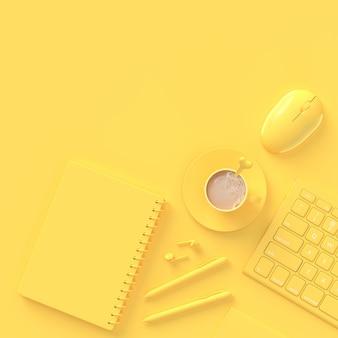 Concepto minimalista leche de café en taza amarilla