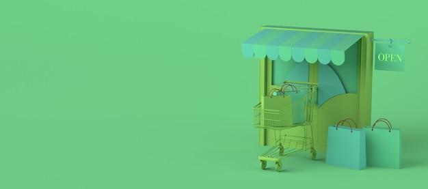 Concepto minimalista de tienda en línea copiar espacio ilustración 3d compras en línea