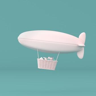 Concepto mínimo de dirigible flotante y caja presente en la cesta sobre fondo pastel. representación 3d